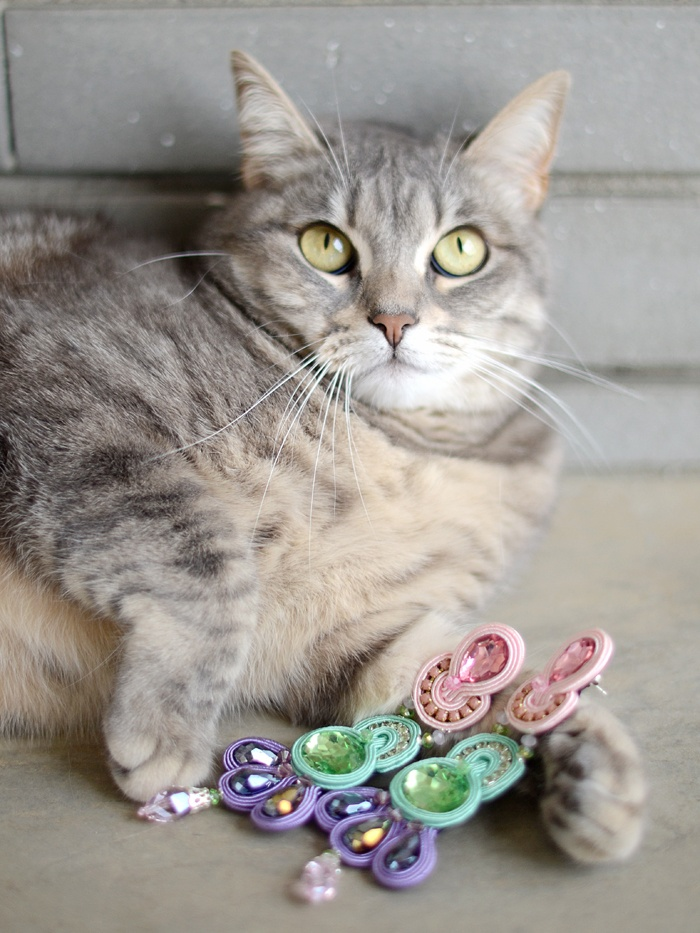 I've just stolen these earrings from Mummy! Shhh don't tell her, please! #soutache #pastels #earrings #gioya #cat #gatto #gatta #cats #eyes #pursesandi #kikithesweetycat #pursesandi #cat #gatto #details #fashiondetails #animals #catlovers #eyes #cute #nice #gatta #spring #ss2013 #colors www.pursesandi.net