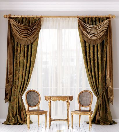 Curtains With Integrated Swags And Long Tails · Curtain DesignsCurtain  IdeasDrapes ...