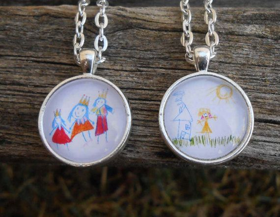 why not wear your childrens art photo pendants various designs and sizes available