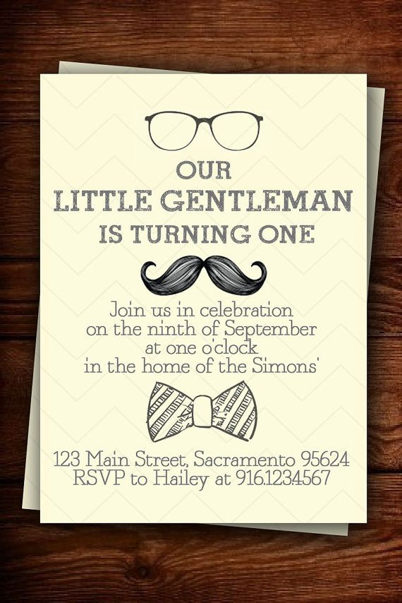 Little Gentleman birthday invitation by scribblesandswatches, $12.00