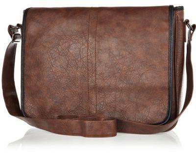 Brown mottled flap over messenger bag