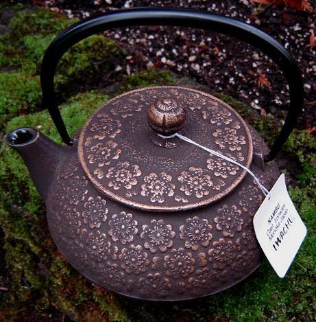 Japanese Tetsubin Cast Iron Teapots - Bronze Brown Sakura (Plum Blossom)