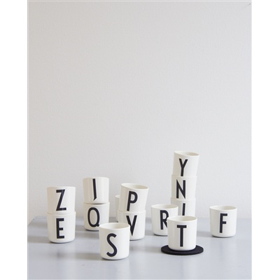 DESIGN LETTERS melamine cups with typography by Arne Jacobsen