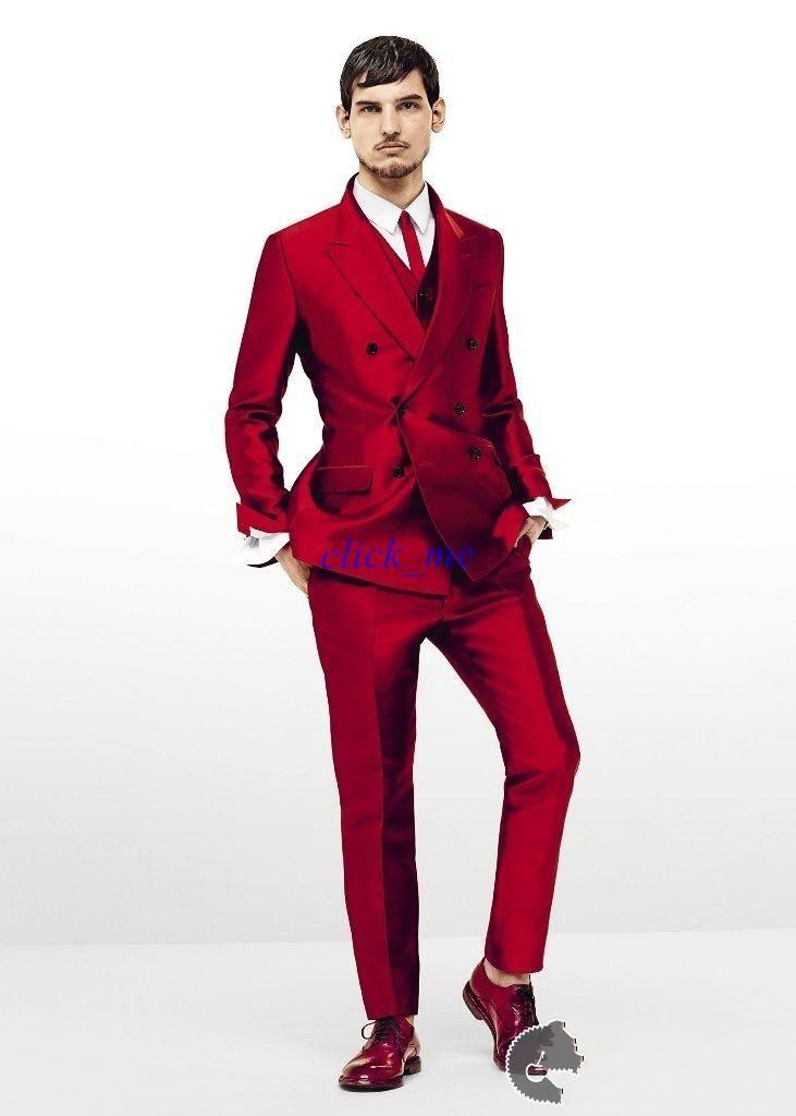 Tuxedos For Men Fit Red Groom Tuxedos Peak Lapel Best Man