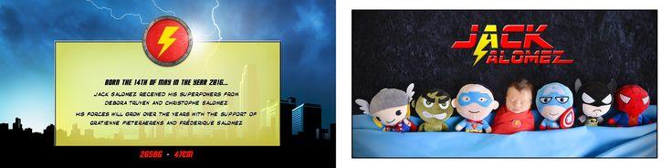 """Geboortekaartje superheld """"Jack"""" binnenkant. Design en fotografie: De Fabeltjesfabriek."""