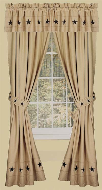 Primitive Curtains On Clearance | Danville Star 2 Curtain Window Panels Primitive Country Nutmeg Creme ...