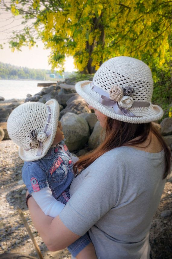 Mother Daughter Summer Sun Hat Set Cotton Crochet by milazshop