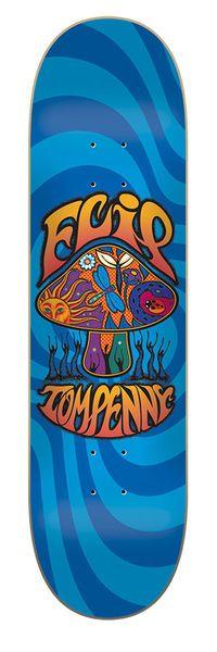 Flip Skateboards: Decks: 8.13in x 32.00in Penny Love Shroom Blue Deck