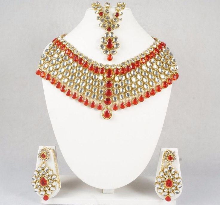 Indian Mughal Style Bridal Fashion Necklace & Earrings Jewelry Set Gold Plated #Handmade