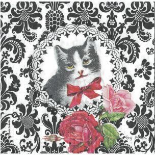 Chat Parisien servítka, mačka, ruže, ornament