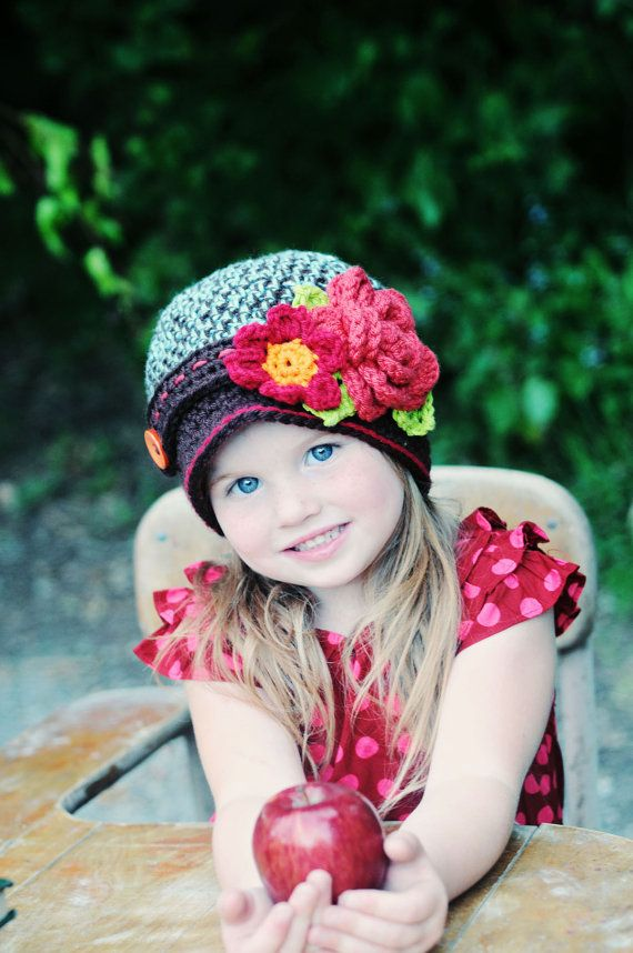 Toddler Girls Hat Autumn Bouquet Fall Hat by TinyTeapots on Etsy