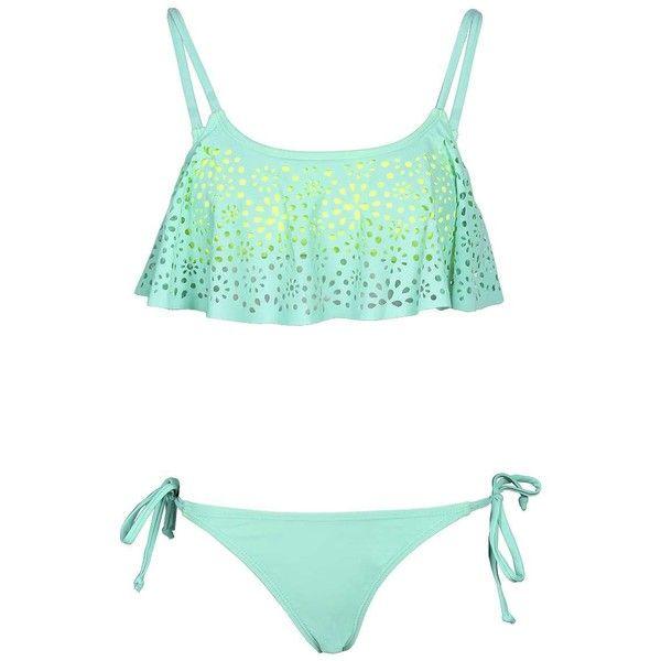 Boohoo Florida Lazer Cut Ruffle Bikini ($26) ❤ liked on Polyvore featuring swimwear, bikinis, swimsuits, bathing suits, swim, flounce bikini, flounce swimsuit, swimsuits two piece, swimsuits bikinis and swim suits