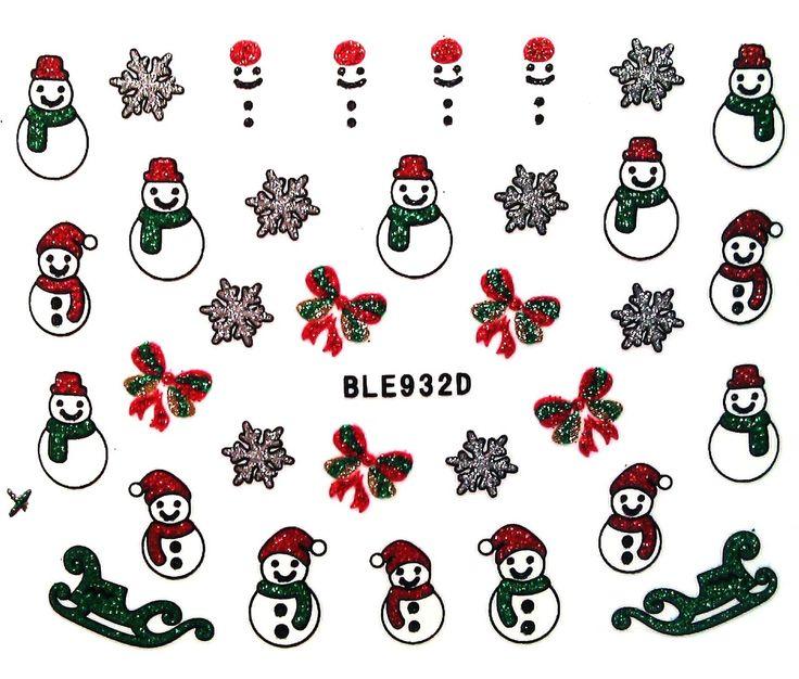Charlies Nail Art - Glitter snowman nail stickers, £1.00 (http://www.charliesnailart.co.uk/glitter-snowman-nail-stickers/)