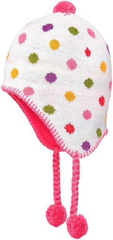 The Toshi Ear Muff Beanie in Cynthia Cream is a delightful accessory for your little girl this winter. Featuring gorgeous, multi-colour dots on a cream background, as well as a bright pink, contrasting fleece lining, this beanie will brighten up their winter wardrobe