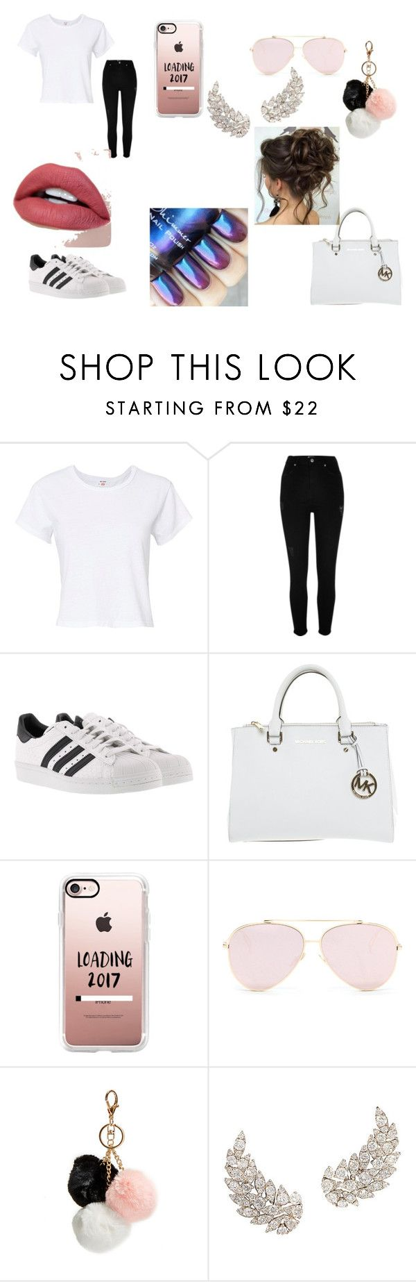 """""""its twin day at school so my twin and i is wearing white and black"""" by leinyjahj ❤ liked on Polyvore featuring interior, interiors, interior design, home, home decor, interior decorating, RE/DONE, River Island, adidas and Michael Kors"""