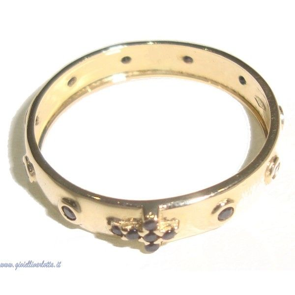 Anello Rosario in Oro Giallo e Zirconi Neri http://www.gioiellivarlotta.it/product.php?id_product=1424