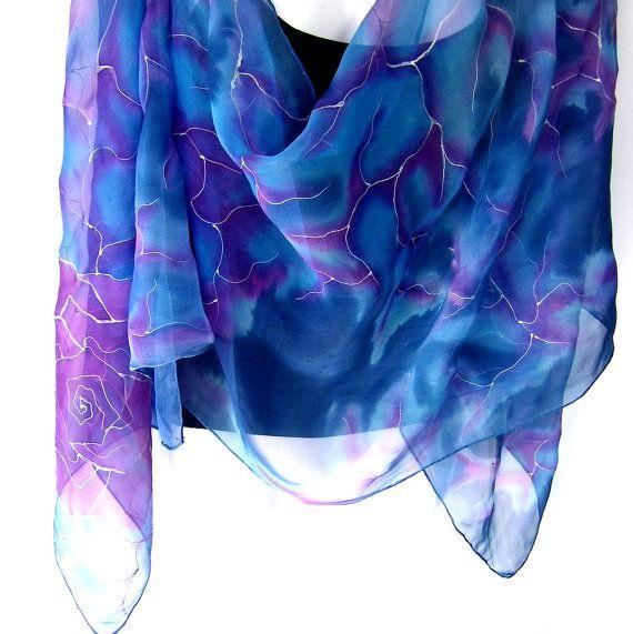 Hand Painted Silk Scarf Medium Blue Purple Floral by silkshop, $80.00