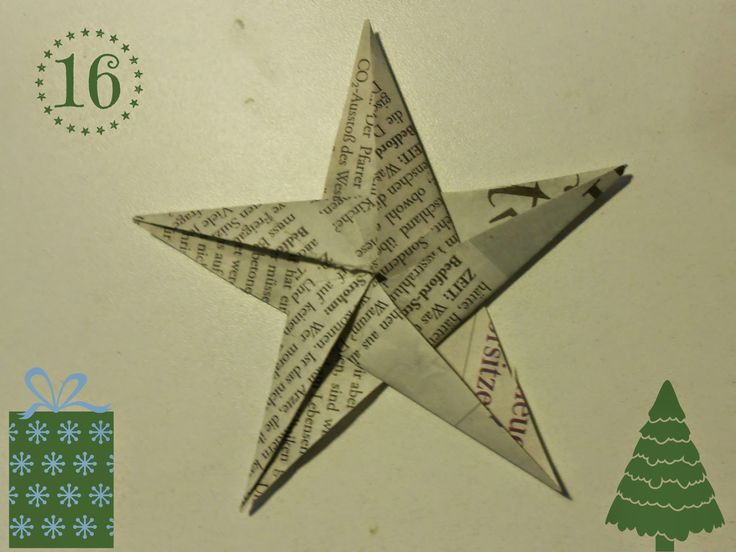 DIY: Weihnachtliche Origami-Sterne aus Zeitungspapier