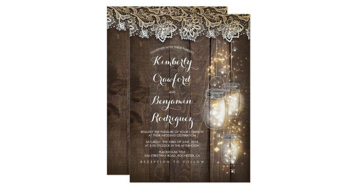 Firefly lights mason jar, wood, and lace rustic wedding invitations