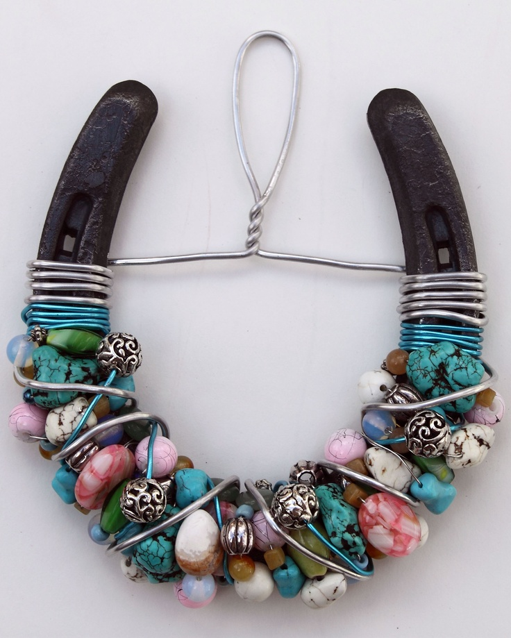 Beaded Horseshoe -  real horse shoes used. Kate Hebert, this is soooo you!