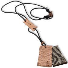 Duurzame ketting gemaakt uit gerecycled koper en leer Naamketting | Gepersonaliseerde ketting By-Biek-29-ketting-antraciet