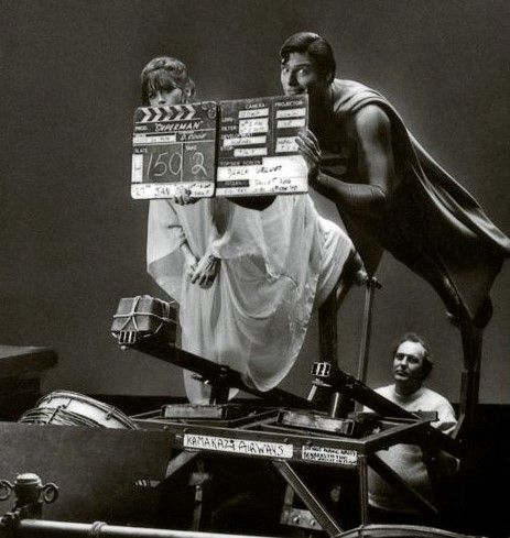 Behind the scenes in SUPERMAN: THE MOVIE (1978).