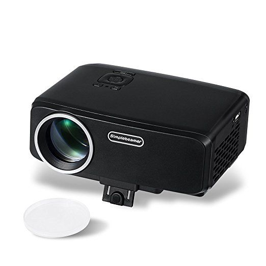 Portable LED Projector 1080P, Simplebeam 800Lumens GP9S Movie Video with HDMI USB VGA SD Port Native 800*480p for Home Cinema and Christmas Festival Gift, Black