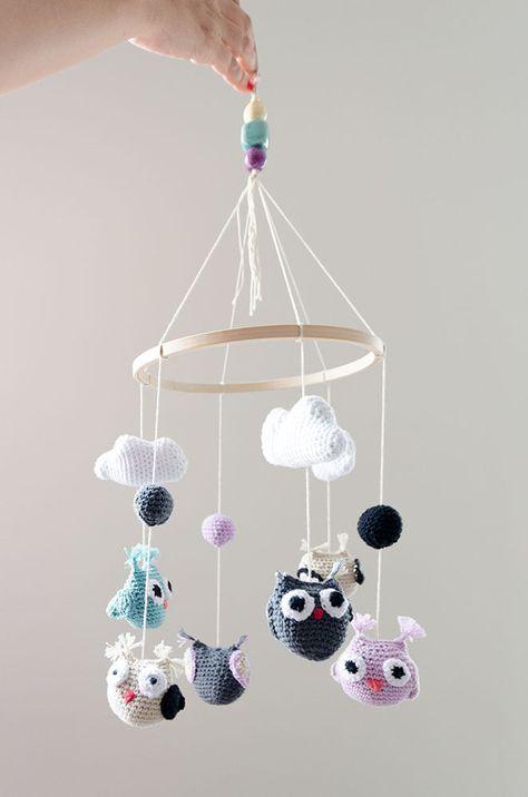 Movil Para Cuna hecho con búhos de ganchillo | MOVILES | Crochet ...