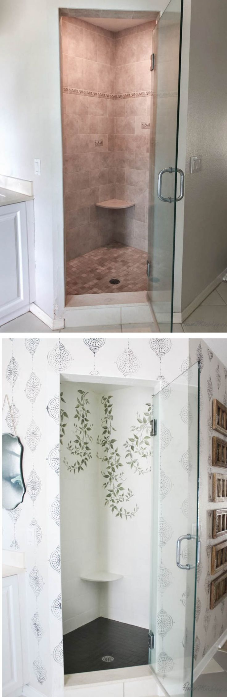 How to paint bathroom tile floor, shower, backsplash
