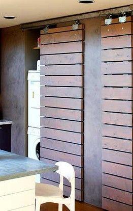 portes coulissantes - Idée pour cacher l'électroménager de la lingerie-salle de bain