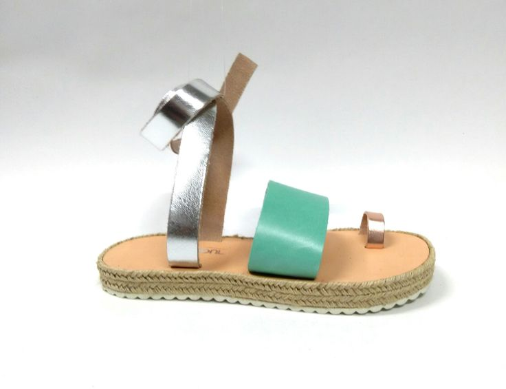 Medusa_Mint, silver and rose gold Handcrafted leather sandals