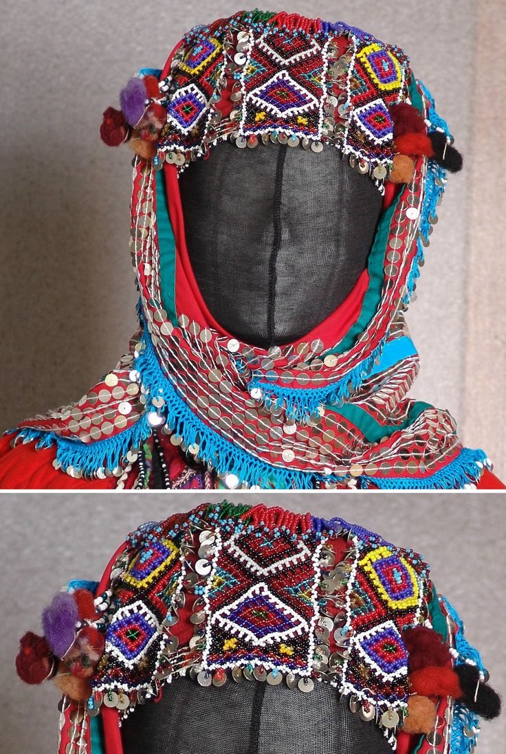 Traditional bridal headgear of the Karakeçeli villages in the district of Keles (south of Bursa).  Clothing style: mid-20th century.  In close-up: the 'fes' (cap), adorned with beadwork panels. (Kavak Folklor Ekibi & Costume Collection-Antwerpen/Belgium).
