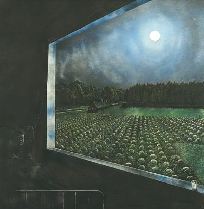 My sister married the nephew (Peter) of iconic Canadian painter William Kurelek (painting left).  He painted his happier works to support his darker work, like the one here, which he felt was his calling in life.
