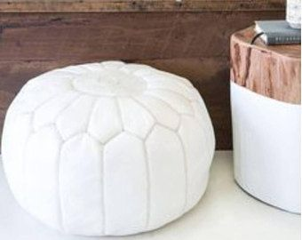 White Moroccan Leather Pouf / Leather ottoman / Embroidery design / hand stitched / Boho Style / Modern Home