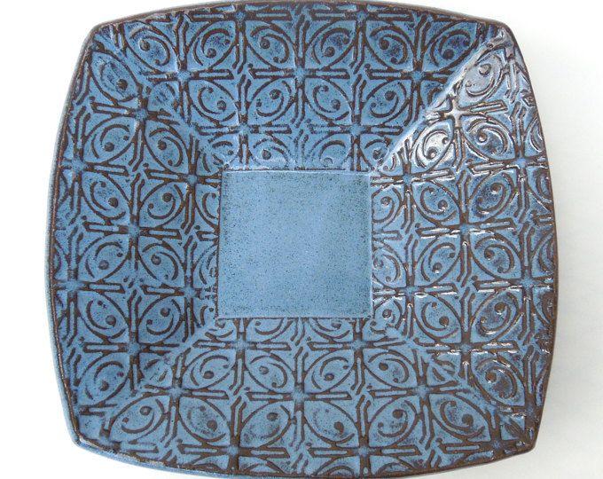 Kleine Dark getextureerde Tin dak blauwe keramische aardewerk portie plaat Bowl
