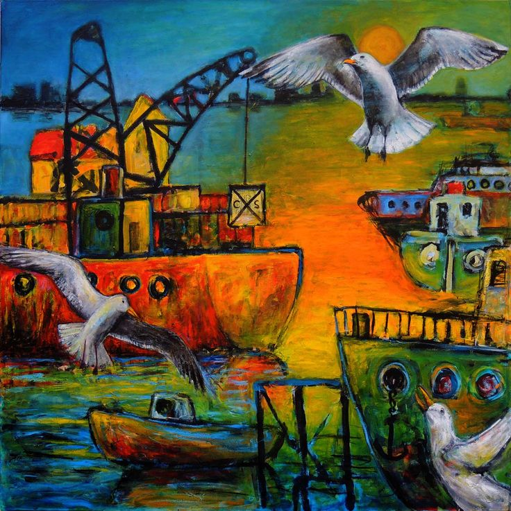 'SOLD Saltwater and Seagulls II' The right-hand panel of a diptych commission with an imaginary view of Fremantle Harbour. In this painting, I combined realism with naivety. The ships are simple, childlike and in the plane of the painting, while the distant view and the seagulls are realistic. #JeremyHolton #Perth #Australia #Painting #Art