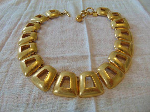 vintage ANNE KLEIN signed gold plated necklace signed mint