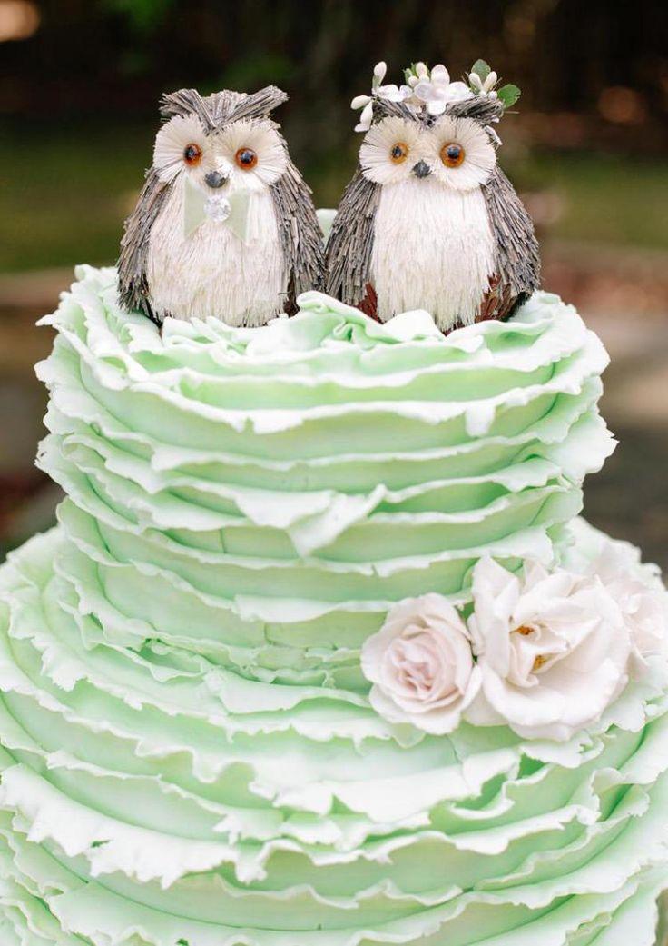 gteau de mariage rigolo en vert pastel orn de hiboux - Gateau De Mariage Lille
