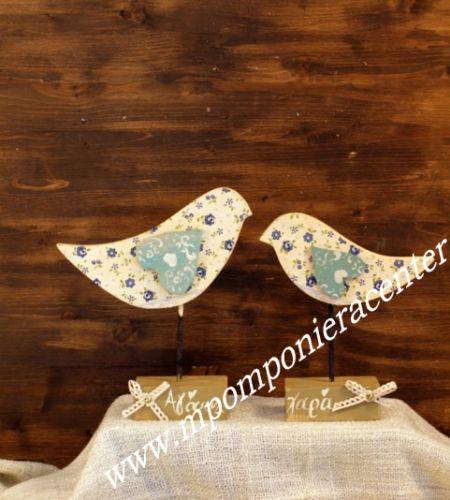Σετ δύο τεμαχίων  πουλάκια σε βάση με καρδούλα Ιδιαίτερη και πρωτότυπη δημιουργία σε ξύλο.