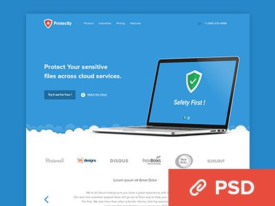 Protectly Website- PSD Freebie