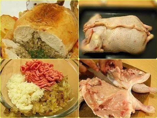 Праздничная фаршированная курица без костей | Школа вкуса  - вкусные кулинарные рецепты
