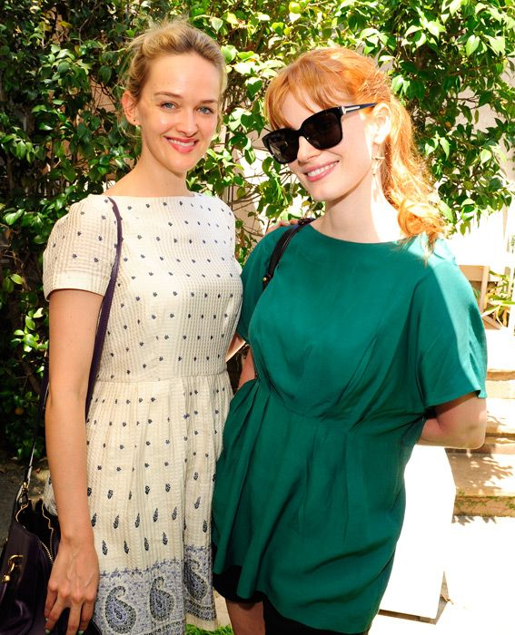 Inside the Party: Jennifer Klein's 2014 Day of Indulgence - Jess Weixler and Jessica Chastain from #InStyle