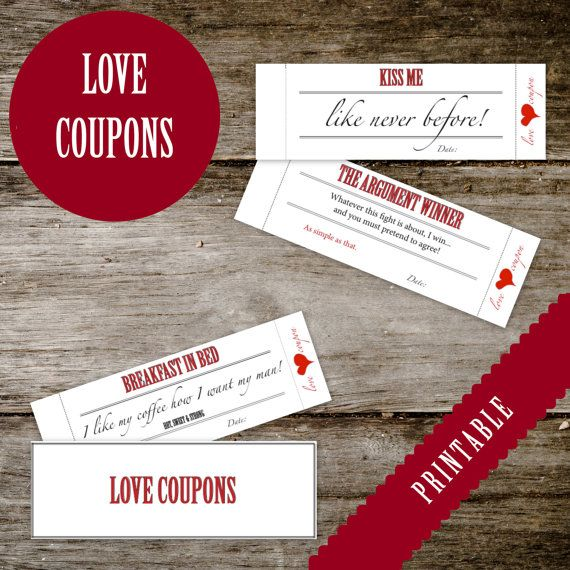 Printable LOVE Coupon Book - for HIM or for HER - Adult - Love Coupons for boyfriend, girlfriend, husband, wife - Instant Download