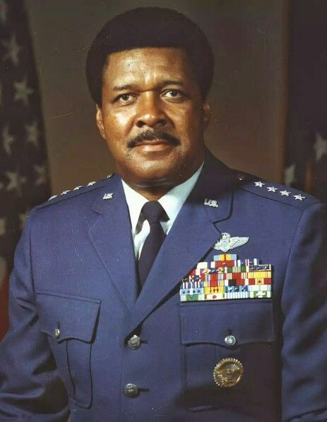 """Daniel """"Chappie"""" James, Jr., US Air Force fighter pilot & Tuskegee Airman. He became the 1st African American 4-star general, & served as commander in chief of NORAD/ADCOM, with operational command of all US & Canadian strategic aerospace defense forces.  He later assumed duty as special assistant to the Chief of Staff, US Air Force. Serving in WW II, Korean War, & Vietnam War, he was awarded the Distinguished Service Medal, Legion of Merit, & Distinguished Flying Cross. He was a graduate…"""
