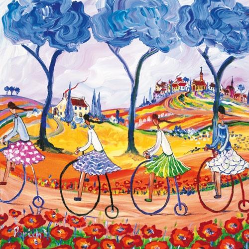 Girls on Big-wheel bicycles