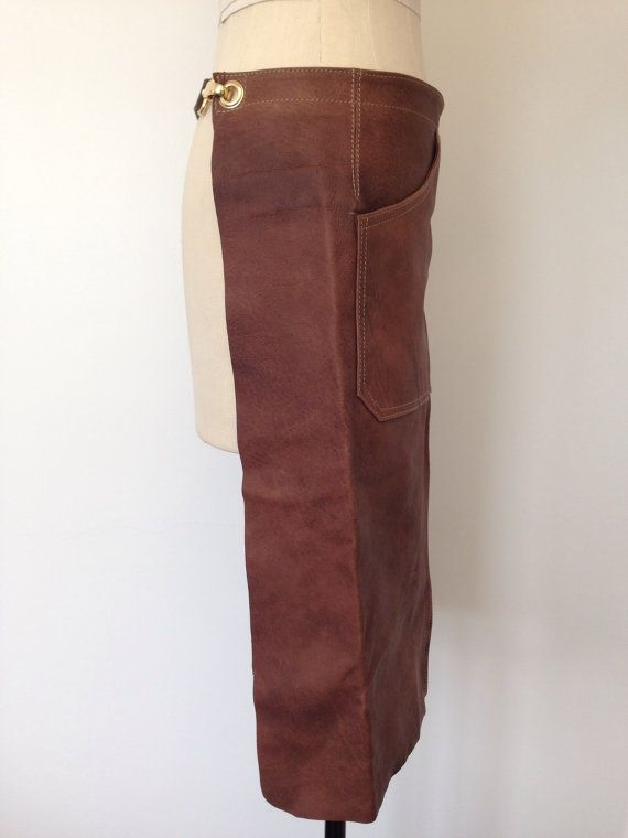 Leather Apron Brown Vintage Leather Barista Apron door Bteshome
