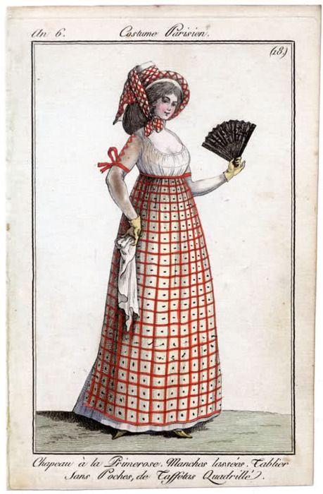 Journal des Dames et des Modes, 1797 -  an 6 - chapeau à la primerose manches lacées tablier sans poches de taffetas quadrillé.