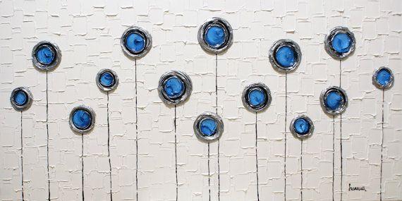 Abstrait blanc bleu et argent giclée de Fine Art par ModernHouseArt