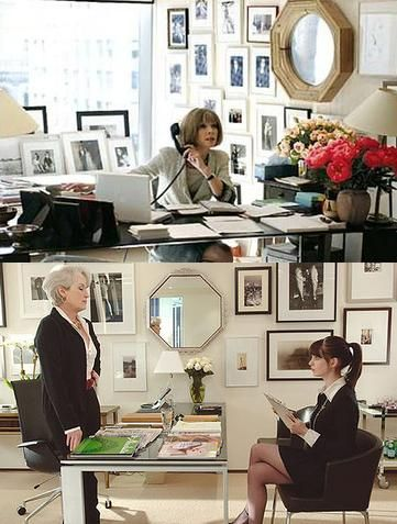 "Anna Wintour's real office (and ""The Devil Wears Prada"" replica)--love the photo wall and desk."