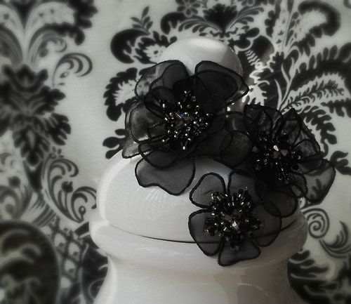 Black Flowers. Organza flowers with beads and crystals.